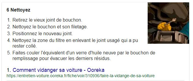 Featured snippet : comment faire sa vidange ?