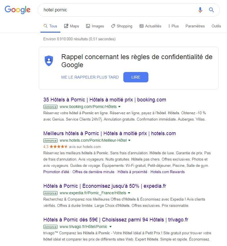 """exemple d'annonces Google Ads sur la requête """"hotel pornic"""""""