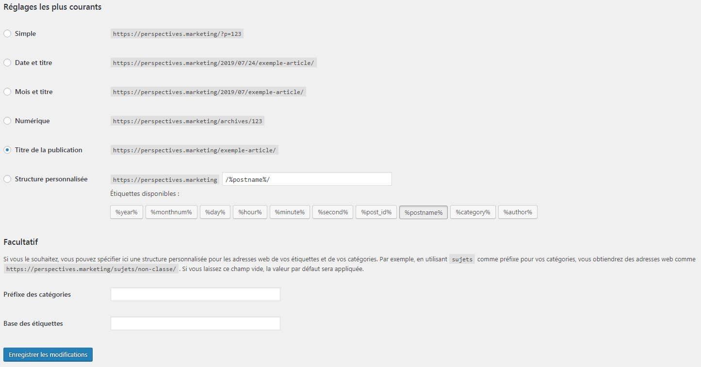 Les réglages des permaliens dans WordPress