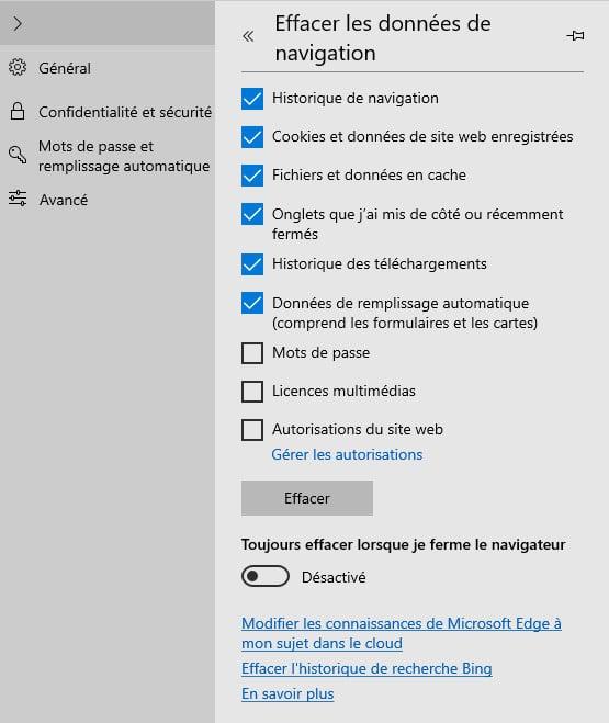 Vider le cache de Microsoft Edge